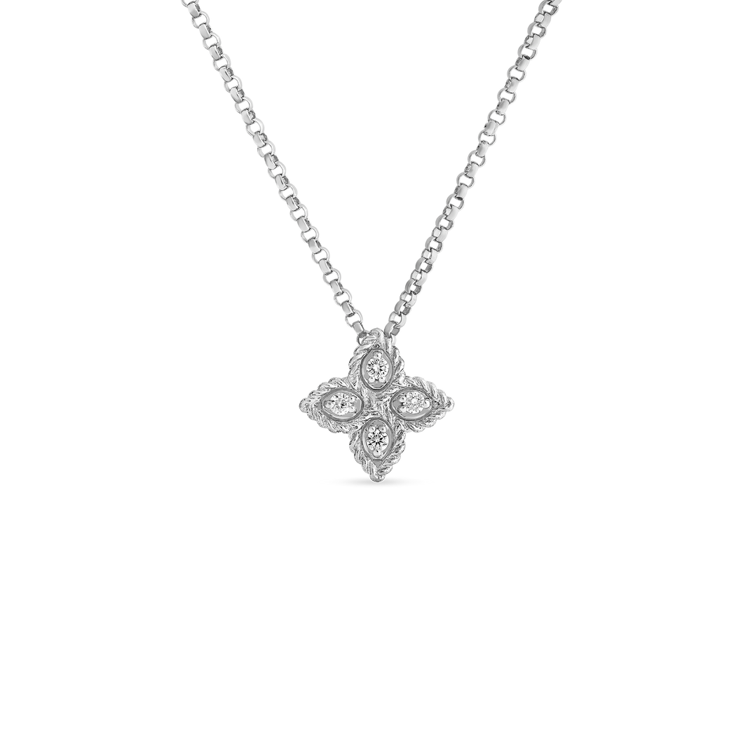 Roberto Coin 18 karat white Small Princess Flower Diamond Pendant 16-18