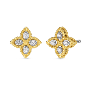 Roberto Coin 18 karat yellow and white gold Small Princess Flower Diamond Stud Earring, D=0.07tw