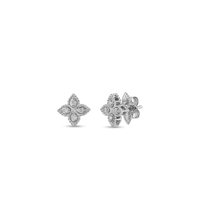 Roberto Coin 18 karat white gold Small Princess Flower Diamond Stud Earring, D=0.07tw