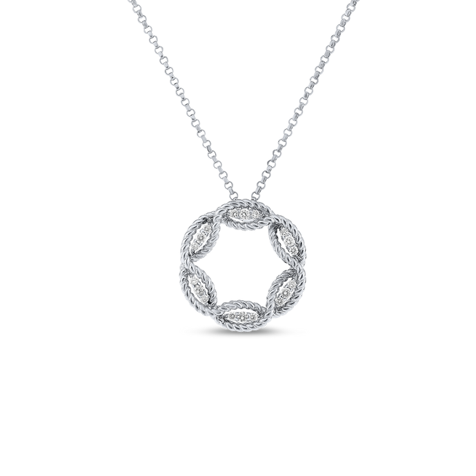 Roberto Coin 18 karat white gold New Barocco Diamond Circle Pendant 16-18