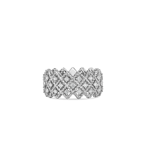 Roberto Coin 18 karat white gold 3 row Roman Barocco Diamond Ring, D=0.72tw