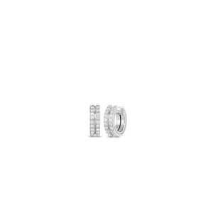 Roberto Coin 18 karat white gold 2 Row Diamond Portofino Earrings, D=0.82tw