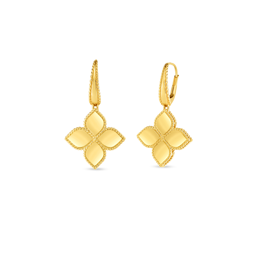 Roberto Coin 18 yellow gold Large Princess Flower Drop Earrings