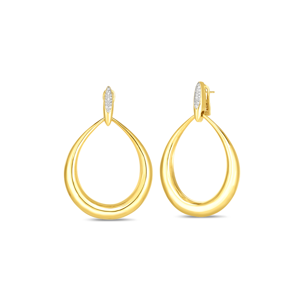 Roberto Coin 18 karat yellow gold Oro Classic Diamond Accent Earrings, D=0.22tw