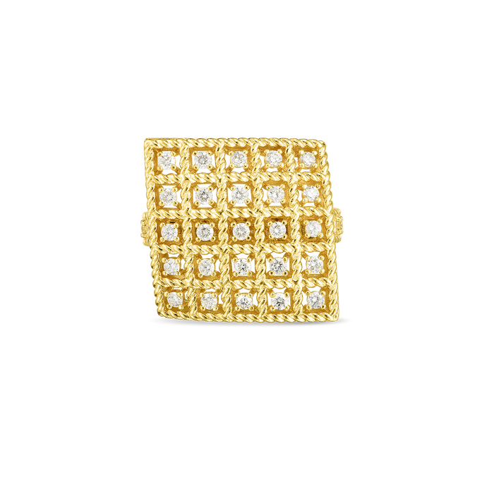 Roberto Coin 18 karat yellow gold 5x5 Large Byzantine Barocco Diamond Ring, D=0.53tw