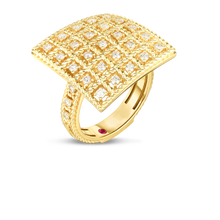 Load image into Gallery viewer, Roberto Coin 18 karat yellow gold 5x5 Large Byzantine Barocco Diamond Ring, D=0.53tw