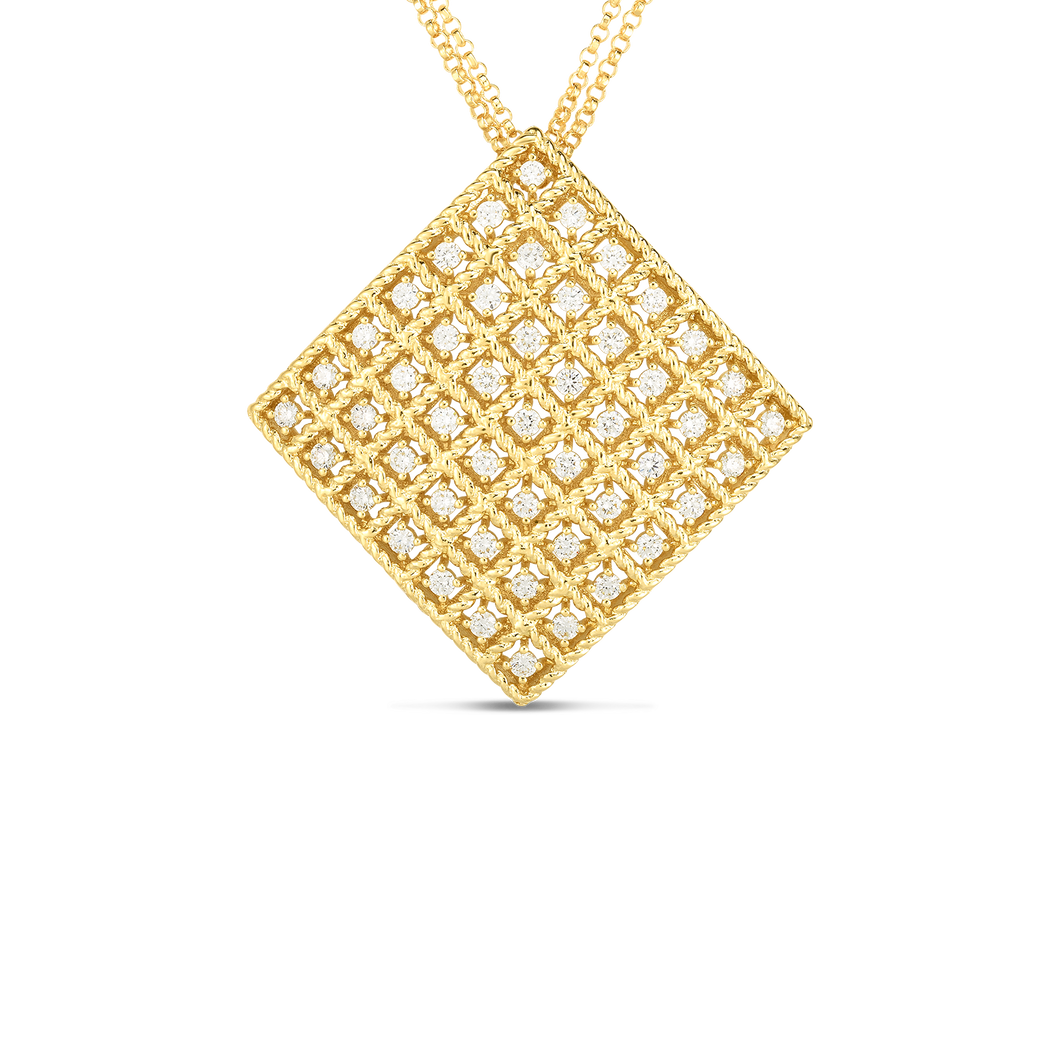 Roberto Coin 18 karat yellow gold 7X7 Large Byzantine Barocco Diamond Pendant 16-18