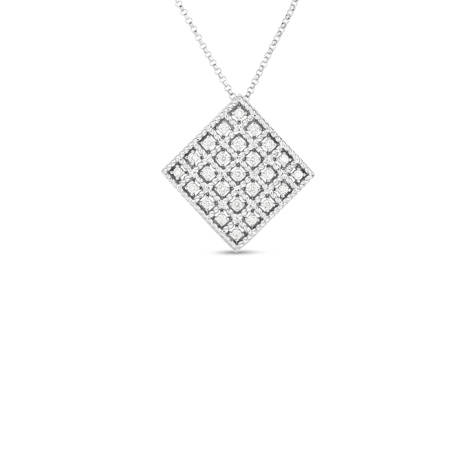 Roberto Coin 18 karat white gold 5X5 Medium Byzantine Barocco Diamond Pendant 16-18