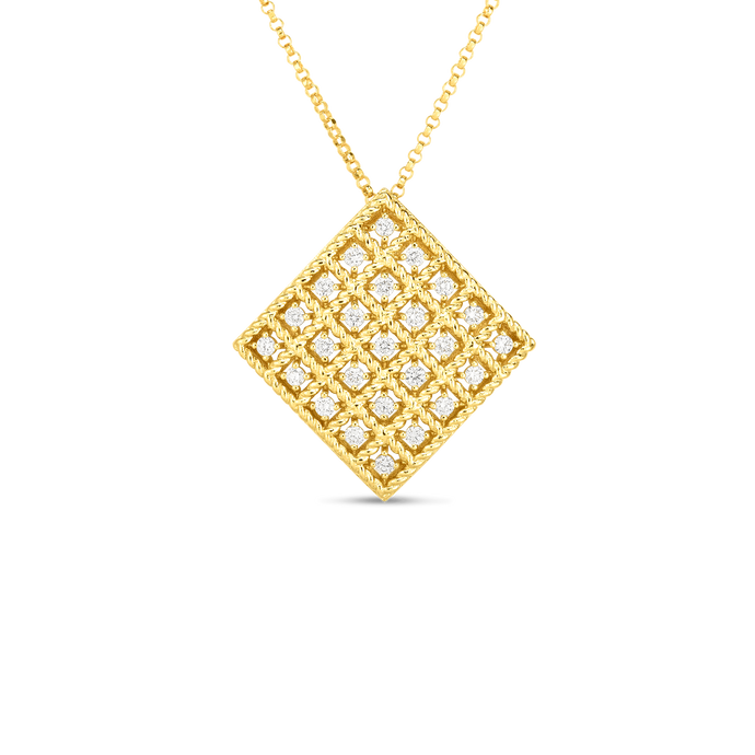 Roberto Coin 18 karat yellow gold 5X5 Medium Byzantine Barocco Diamond Pendant 16-18