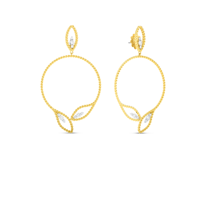Roberto Coin 18 karat yellow gold open Byzantine Barocco Circular Diamond Drop Earrings, D=0.68tw