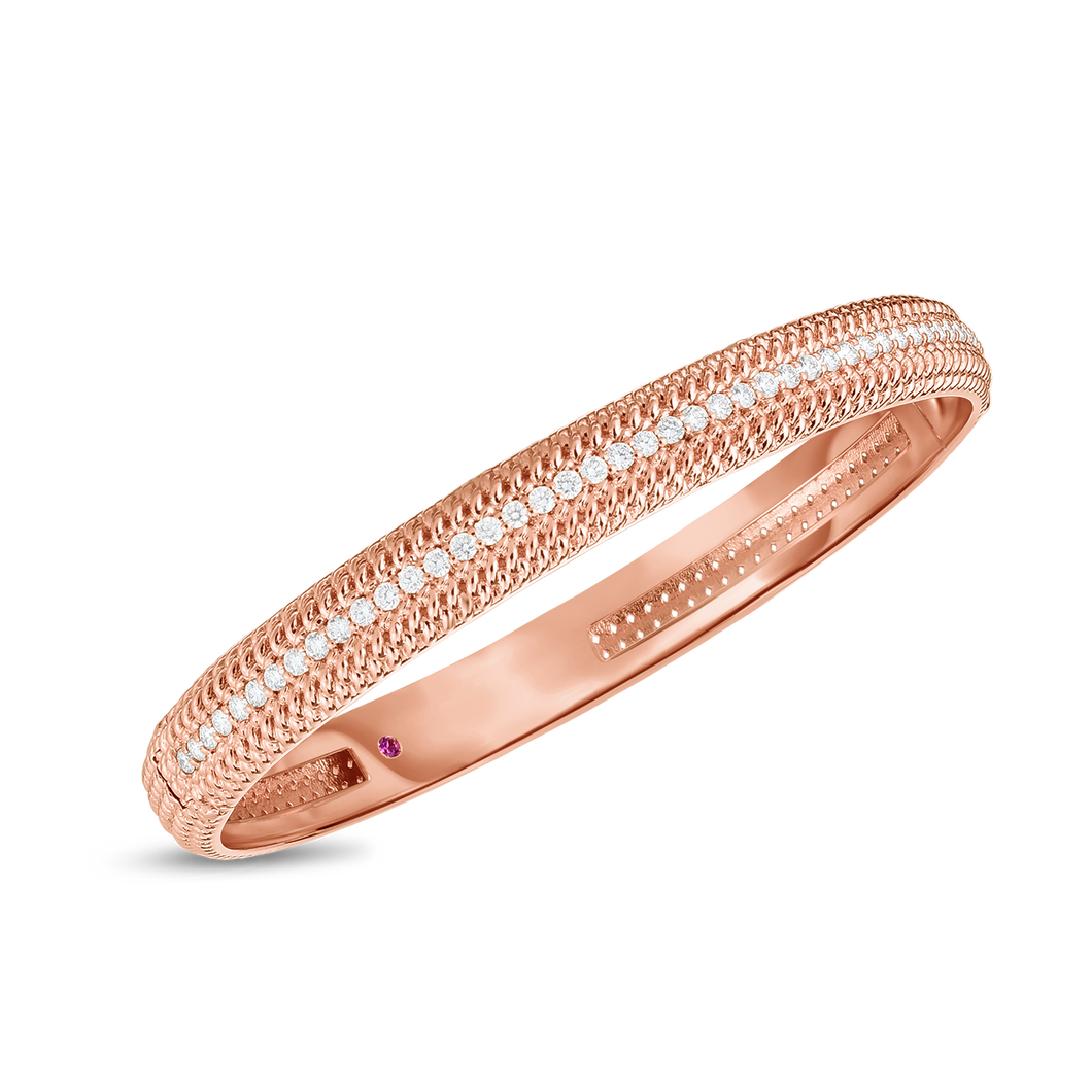 Roberto Coin 18 karat rose gold Opera medium width Diamond Bangle 48x58, D=0.84tw