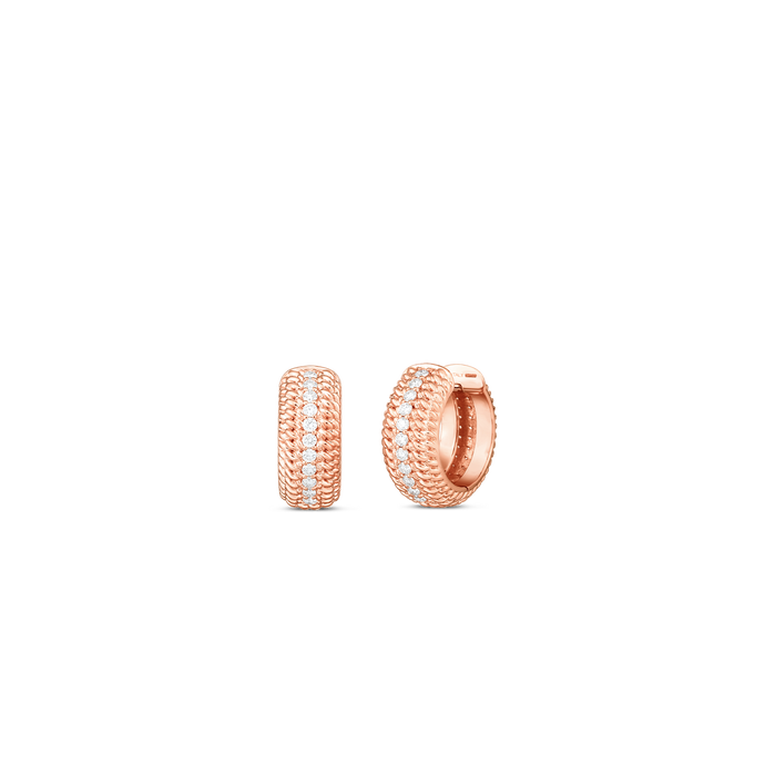 Roberto Coin 18 karat rose gold Opera Diamond Huggie Earring, D=0.35tw