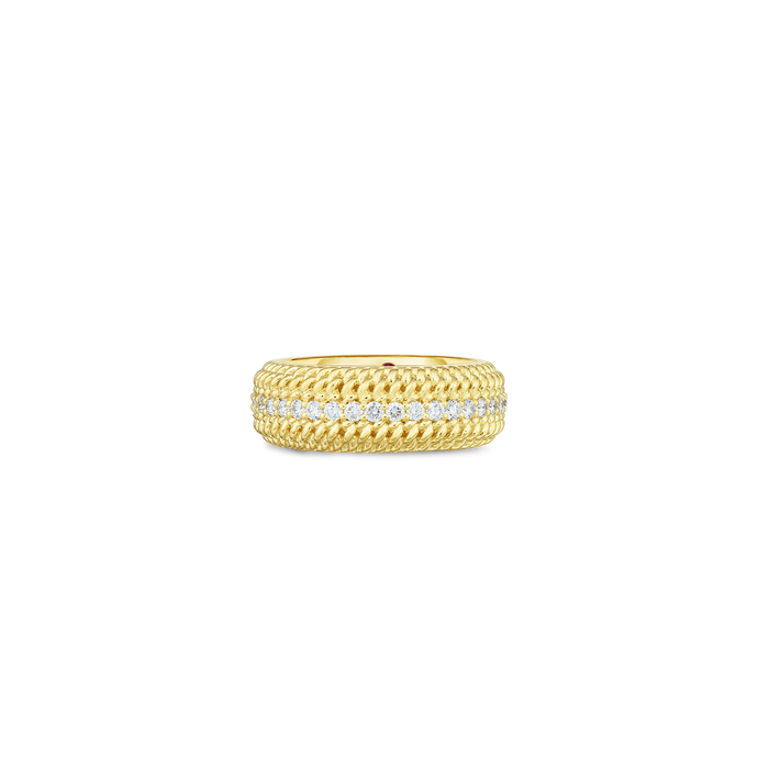 Roberto Coin 18 karat yellow gold Opera Diamond Band, D=0.58tw