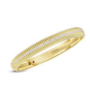 Roberto Coin 18 karat yellow gold Opera medium width Diamond Bangle 48x58, D=0.84tw
