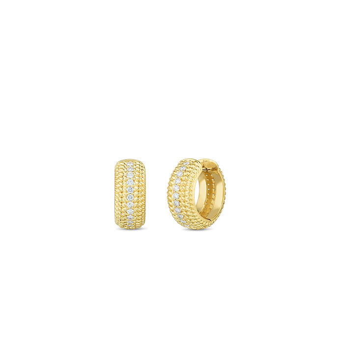Roberto Coin 18 karat yellow gold Opera Diamond Huggie Earring, D=0.35tw