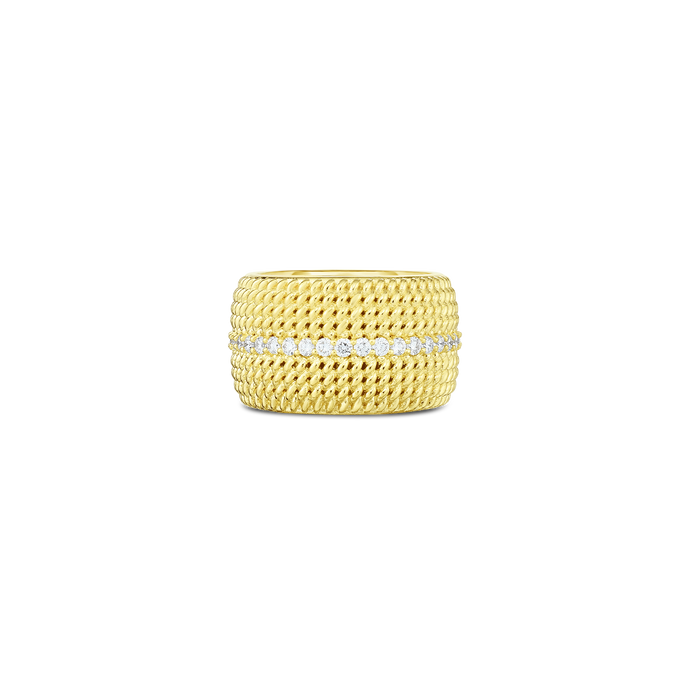 Roberto Coin 18 karat yellow gold Wide Opera Diamond Band, D=0.58tw