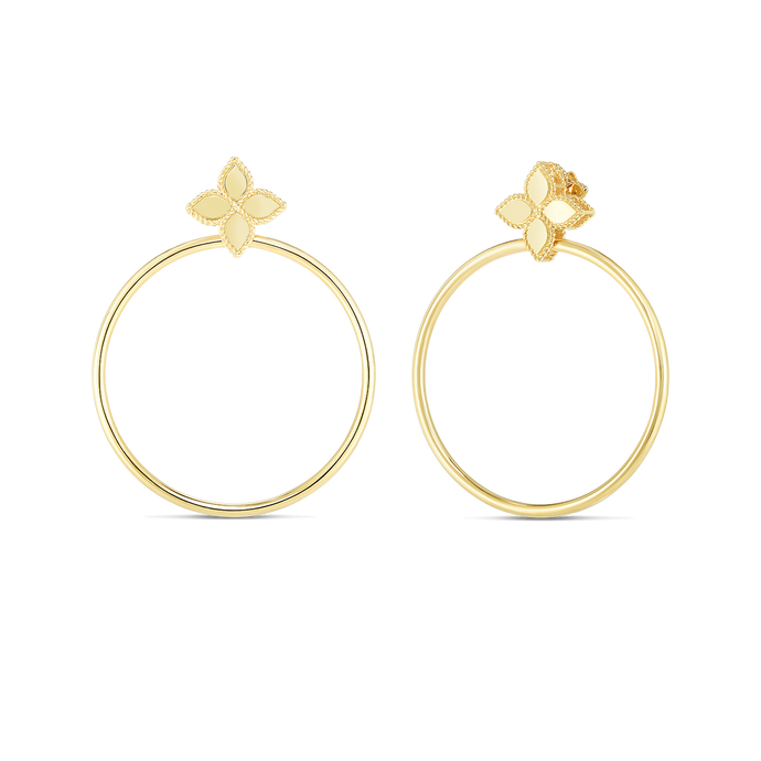 Roberto Coin 18 karat yellow gold Princess Flower Open Circle Door Knocker Earrings