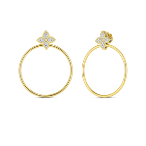 Roberto Coin 18 karat yellow and white gold Princess Flower Open Circle Diamond Door Knocker Earrings, D=0.35tw