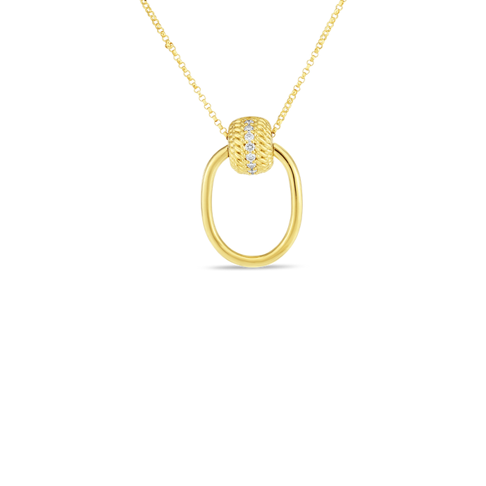 Roberto Coin 18 karat yellow gold Opera oval Door Knocker Diamond Pendant 16-18