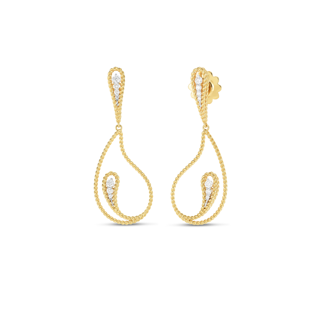 Roberto Coin 18 karat yellow gold Byzantine Barocco Paisley Diamond Drop Earrings, D=0.35tw