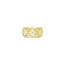 Load image into Gallery viewer, Roberto Coin 18 karat yellow gold 2 Row Palazzo Ducale Diamond Ring, D=0.48tw