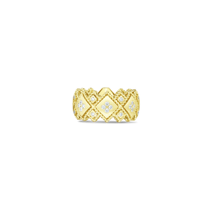 Roberto Coin 18 karat yellow gold 2 Row Palazzo Ducale Diamond Ring, D=0.48tw