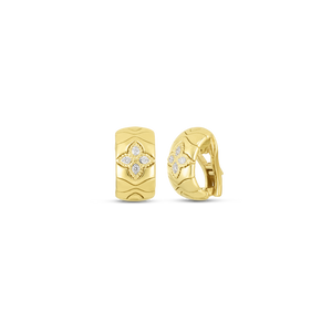 Roberto Coin 18 karat yellow gold Royal Princess Flower Diamond Earrings, D=0.20tw