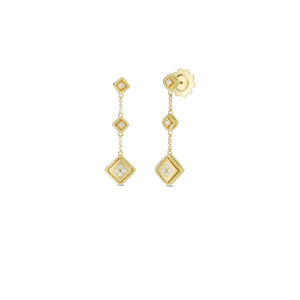 Roberto Coin 18 karat yellow gold 3 Drop Palazzo Ducale Diamond Earrings, D=0.11tw