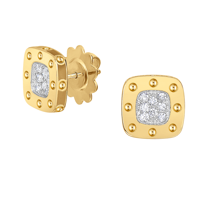Roberto Coin 18 karat yellow and white gold Small Pois Moi Diamond Stud Earrings, D=0.22tw
