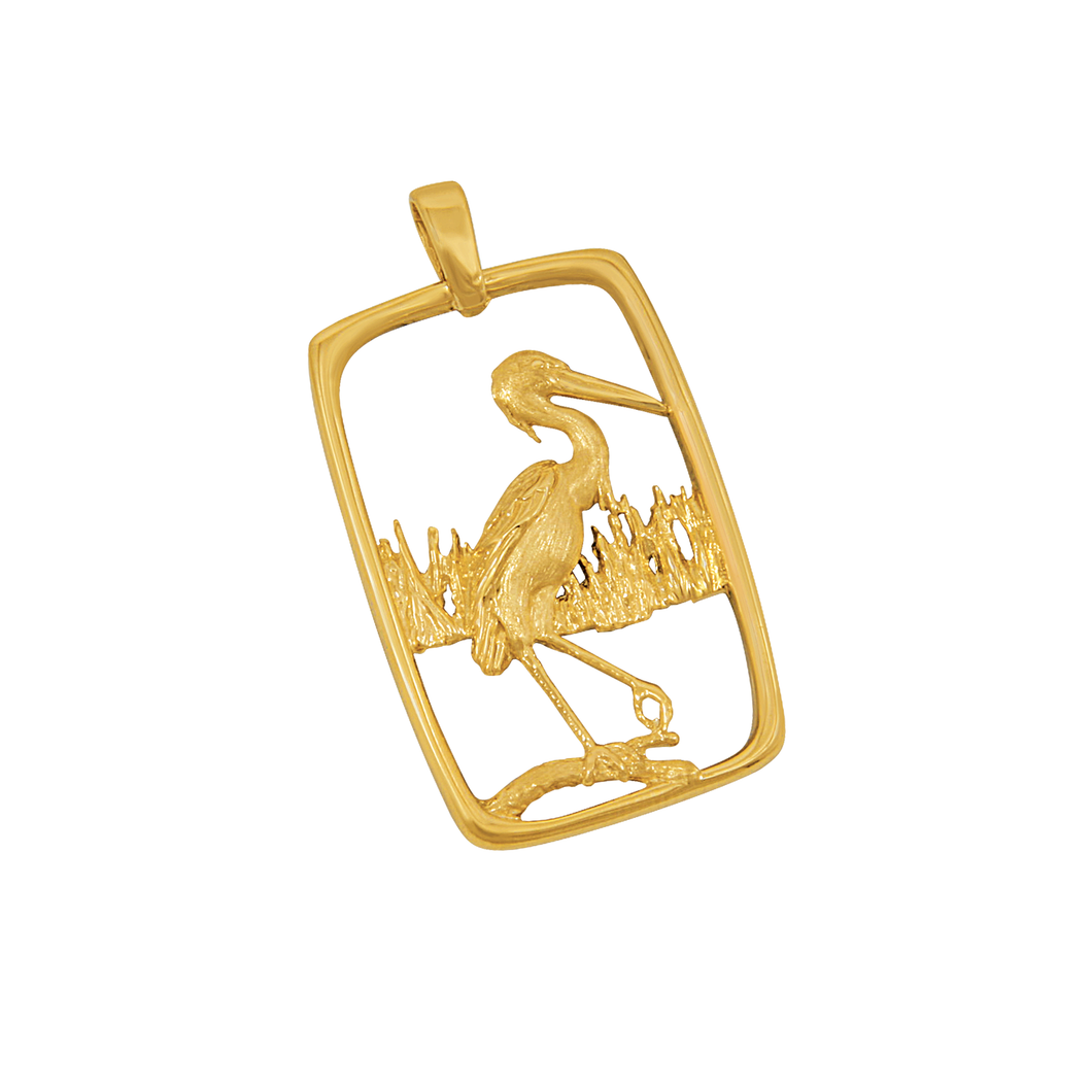 14k Yellow Gold Heron In Frame Pendant