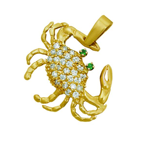 14k Yellow Gold Medium Diamond Pave Crab Pendant with Emerald Eyes, D=.54tw