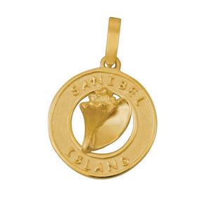 14k Yellow Gold Sanibel Disc with Conch Pendant