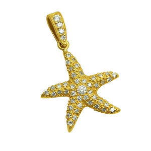 18k Yellow Gold Large Diamond Pave Starfish Pendant, D=.57tw