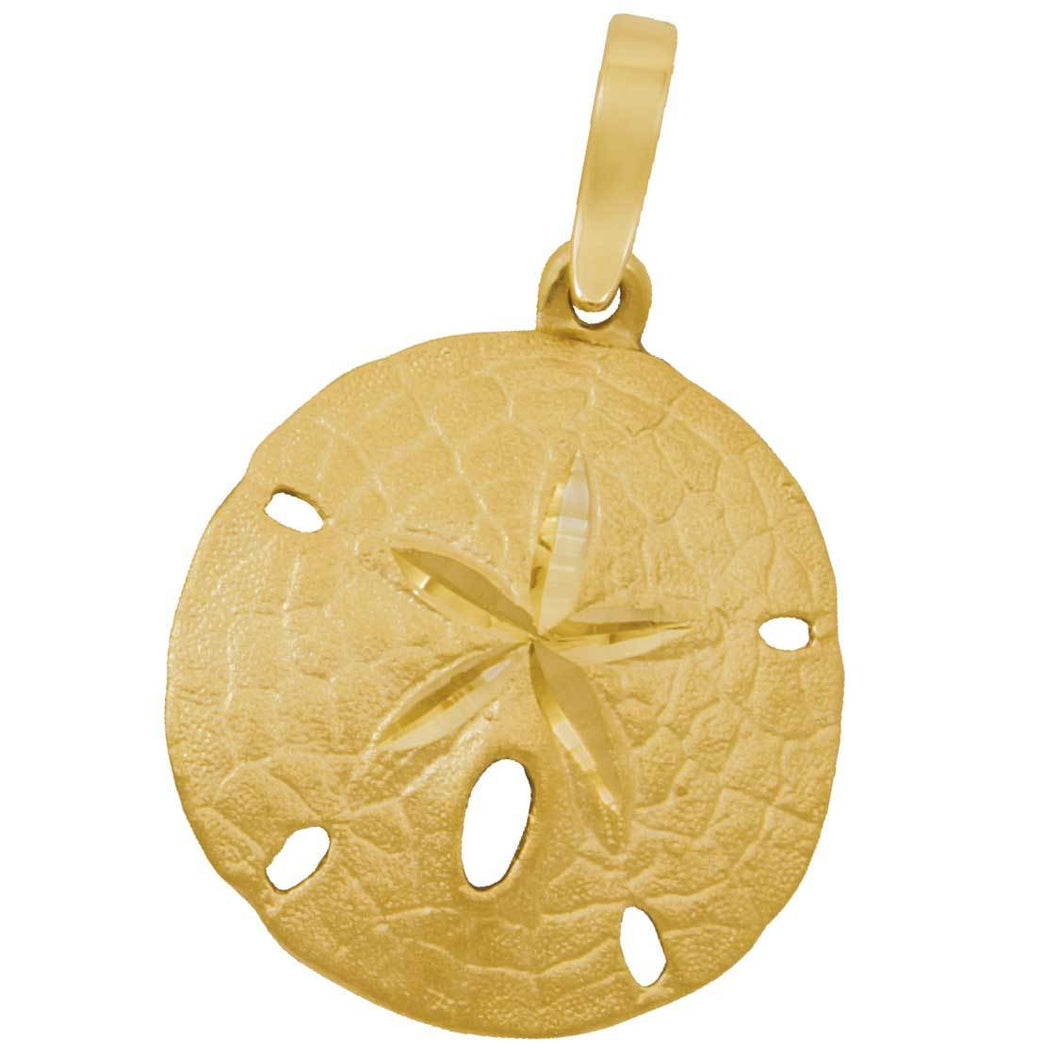 14k Yellow Gold 23mm Sanddollar Pendant