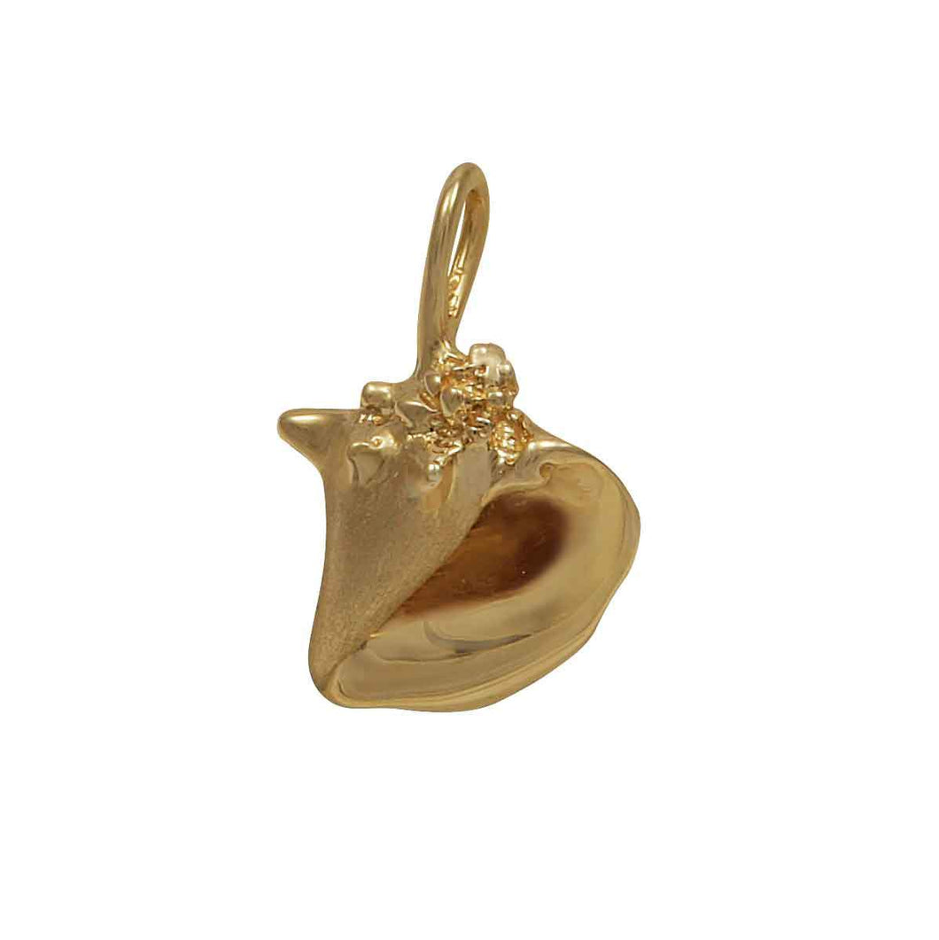 14k Yellow Gold Stylized Conch Shell Pendant