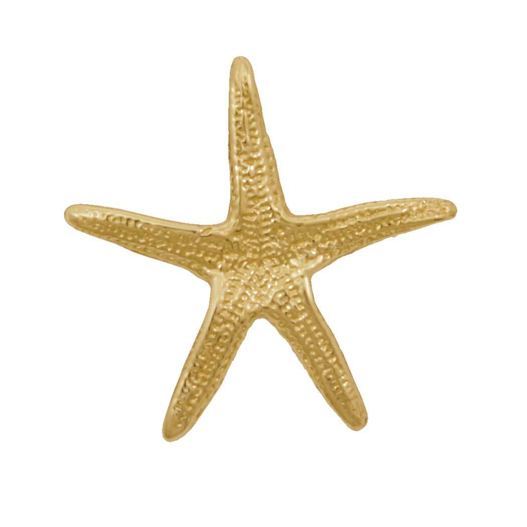 14k Yellow Gold Large Real Starfish Pendant With Hidden Bail