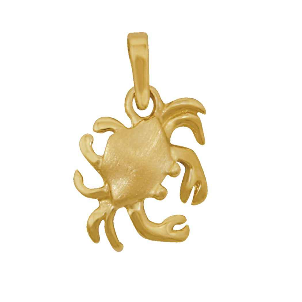 14k Yellow Gold Stylized Crab Pendant