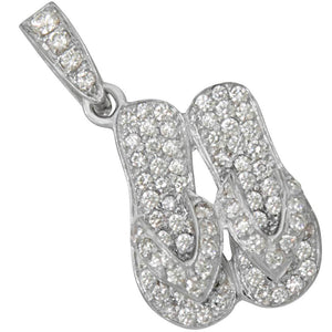 "14k White Gold ""Sanibel Sandals"" Pendant with Diamond Pavé, D=.97tw"