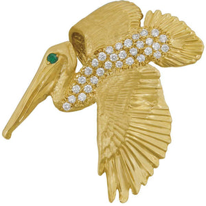 14k Yellow Gold Large Pelican Pendant With Diamonds and Emerald Eye, D=.62tw