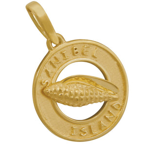 14k Yellow Gold Sanibel Disc with Junonia Pendant
