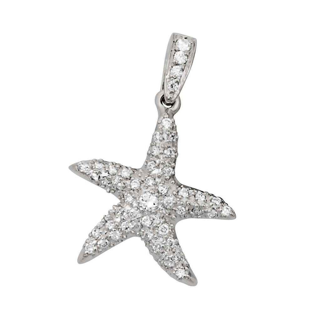 18k White Gold Large Diamond Pave Starfish Pendant, D=058tw