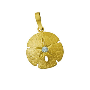14k Yellow Gold 20mm Sanddollar with Diamond Center Pendant, D=.10tw