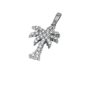 "14k White Gold ""Sea Jewels"" Diamond Palm Tree Pendant, 28D=.84tw"