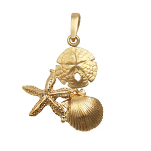 14k Yellow Gold Small Pectin, Starfish and Sanddollar Pendant