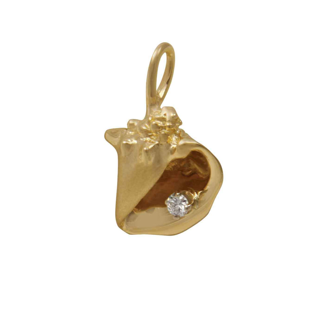 14k Yellow Gold Stylized Conch Shell with Diamond Pendant, D=.05tw