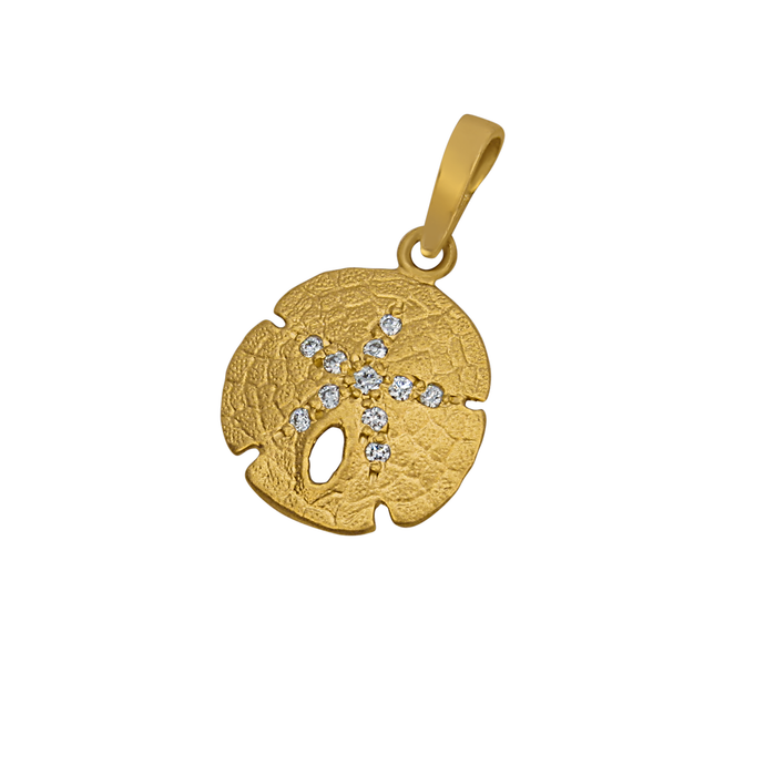 14k Yellow Gold 14mm Sanddollar Pendant, D=.06tw