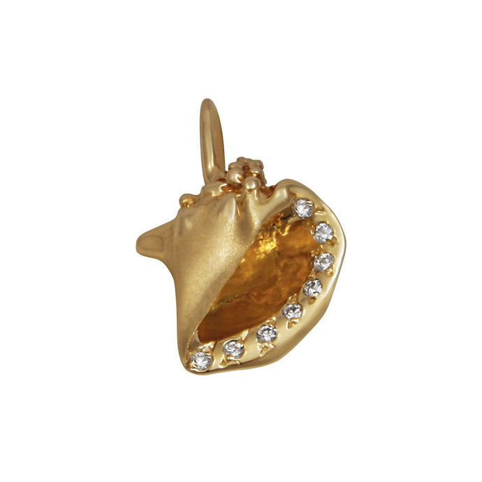 14k Yellow Gold Conch Shell with Diamonds Pendant, D=.08tw