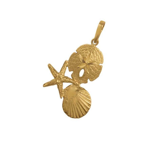 14k Yellow Gold Large Pectin, Starfish and Sanddollar Pendant