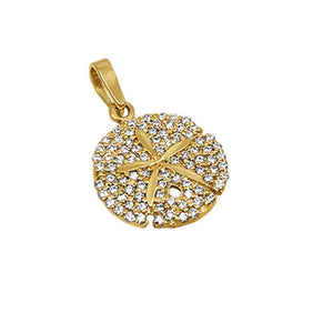 "14k Yellow Gold ""Sea Jewels"" Diamond Pave Sanddollar Pendant, 83D=.44tw"