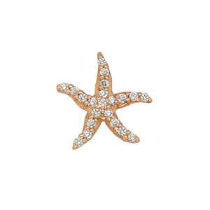 "14k Rose Gold ""Sea Jewels"" Diamond Starfish Pendant, 21D=.21tw"